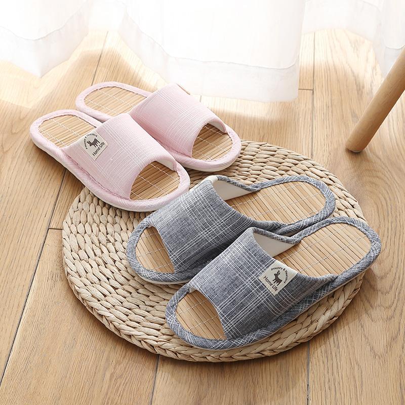 居家室內木地板男女家用竹底拖鞋防滑夏天春秋情侶亞麻竹草席涼托