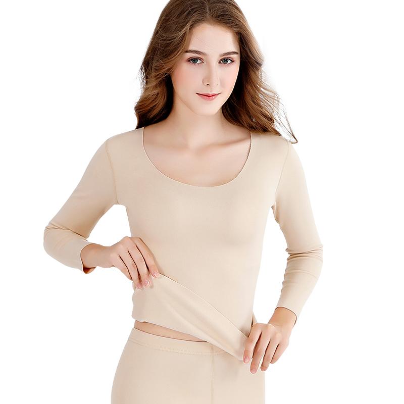无痕保暖内衣女加绒加厚单件上衣德绒发热秋衣内穿肉色打底衫冬季