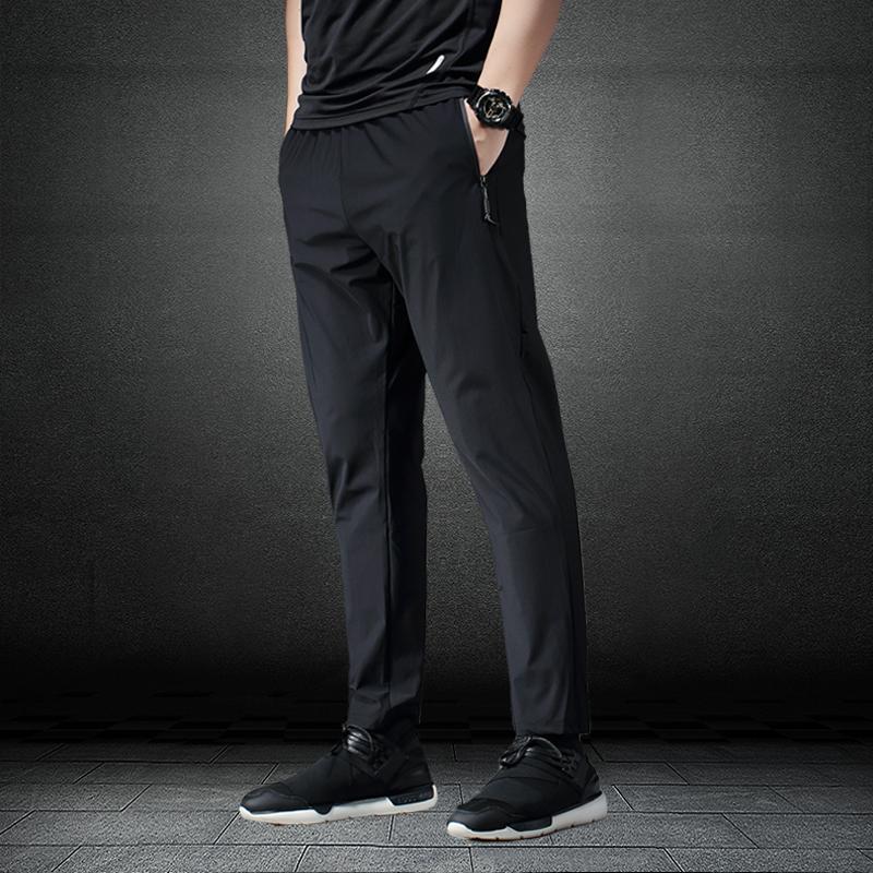 锦纶速干运动裤男宽松健身裤弹力跑步长裤小脚休闲裤大码训练卫裤