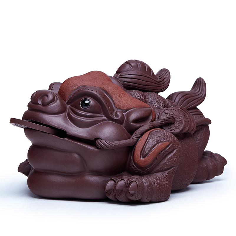 紫砂金蟾茶宠可养招财茶玩茶台配件茶桌三足蟾蜍精功夫茶具摆件品