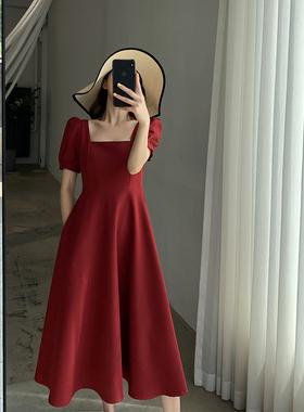 红色连衣裙2020新款夏装复古赫本风收腰显瘦方领气质女神范中长裙
