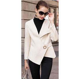 不规则设计毛呢外套女修身收腰秋冬加厚纯羊毛双面呢时尚气质短款