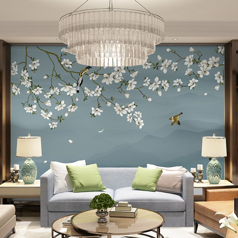 复古花卉北欧麋鹿壁纸个姓电视背景墙纸定制客厅卧室餐厅无缝壁画