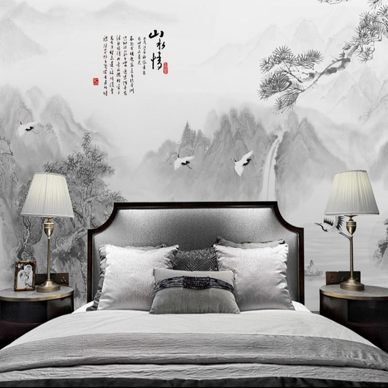 新中式山水画墙纸墙布无缝定制壁纸壁画酒店家居展厅会议室背景墙
