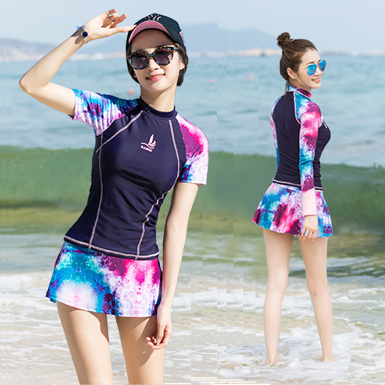 三奇泳衣女分體裙式平角褲 高領長袖防晒沙灘海邊保守泳裝溫泉