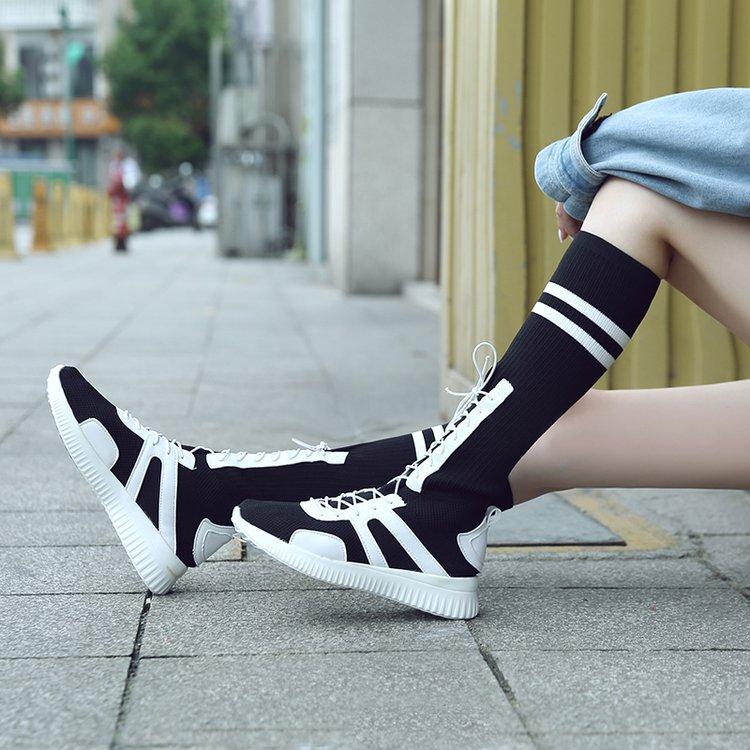 长筒靴女不过膝骑士靴高筒针织袜子鞋平底白色显瘦弹力袜靴子春季