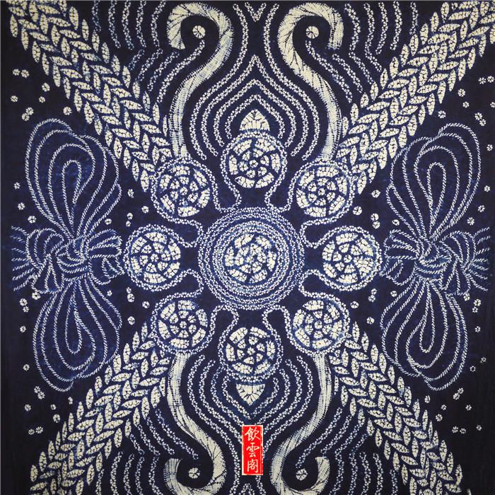 云南扎染布手工植物蓝染纯棉精品老花布 送老外的中国民族风礼物