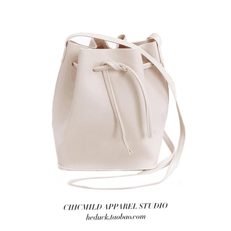 CHICMILD2019百搭簡約清新可調節mini水桶包單肩包斜挎包女包