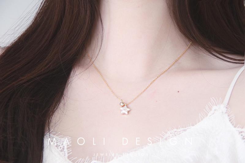 包金天然巴洛克淡水珍珠精致简约锁骨链 14k 独家原创 . 凡星 MAOLI