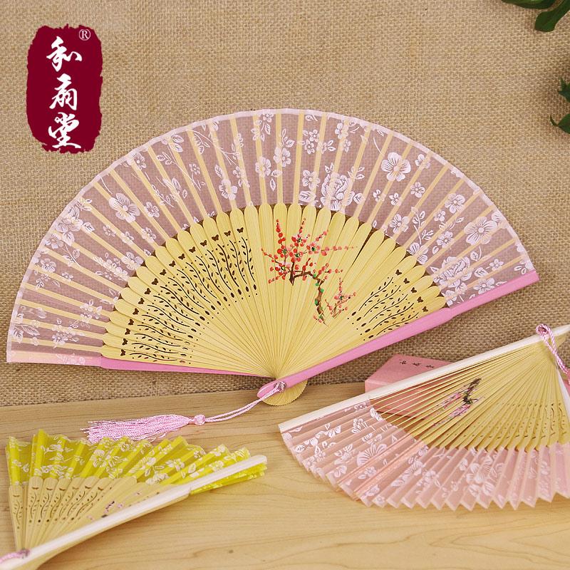 透明樱花烤漆小巧礼品手绘女扇 和服江户日式折扇和风扇子 和扇堂