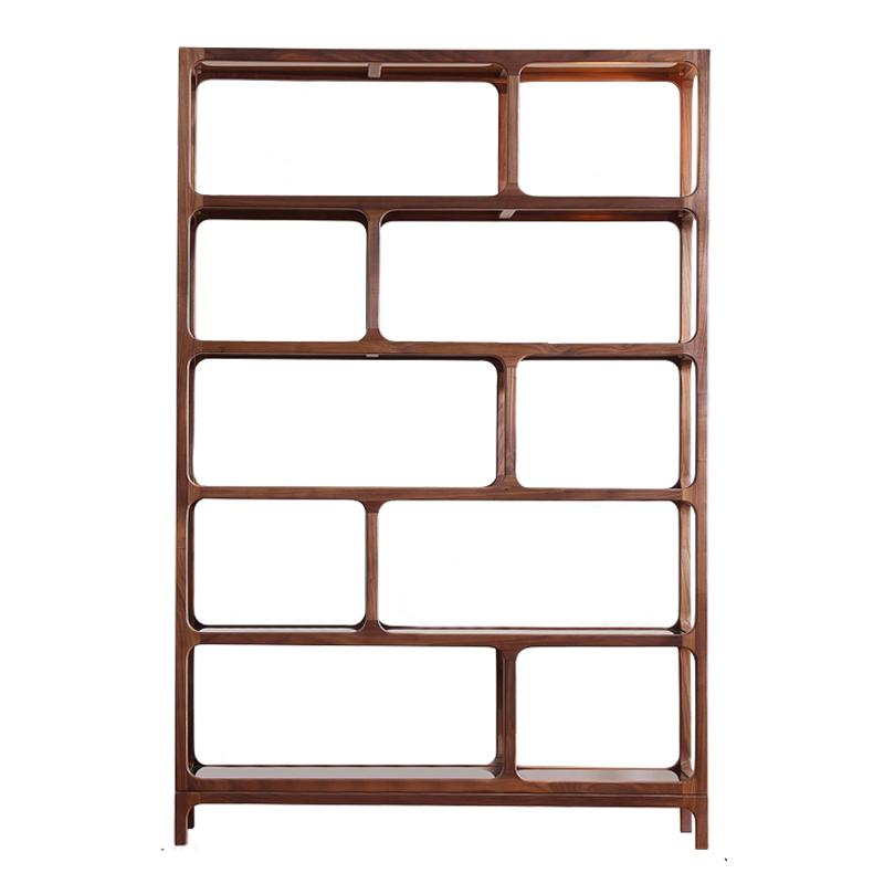 特价黑胡桃实木书架组合玻璃置物架创意艺术家具客厅书柜简约现代