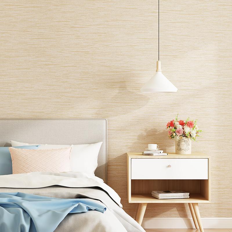 现代简约纯色素色卧室客厅无纺布浅灰色家用墙纸亚麻北欧风格壁纸