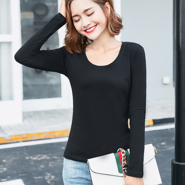 Spring 2020 Korean version of the new solid color shirt blouses cotton long-sleeved t-shirt Slim female outer wear Qiuyi