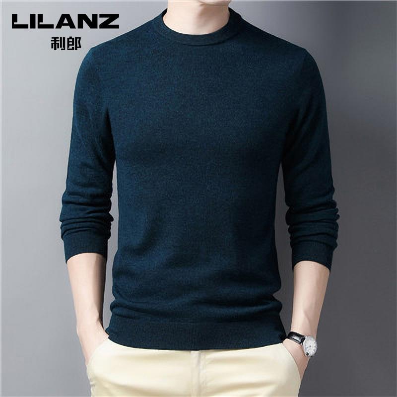 100%绵羊毛:利郎 男士 纯色高领羊毛针织衫