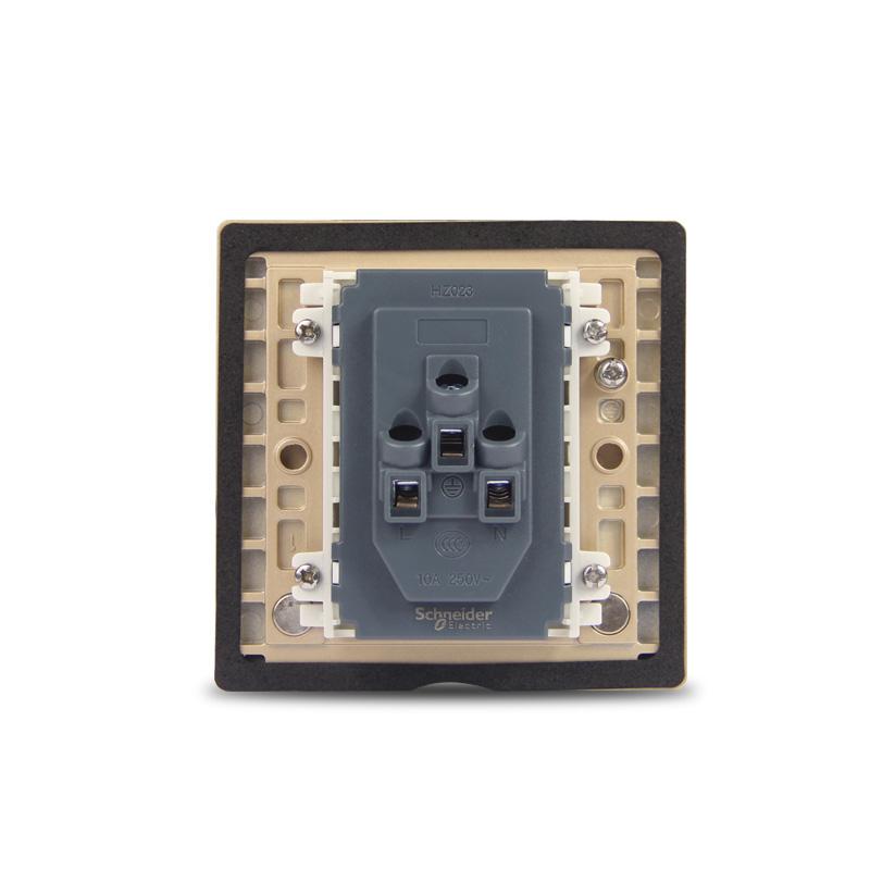 施耐德五孔地插家用86型10A开启式铜质防水二三极五孔地面插座