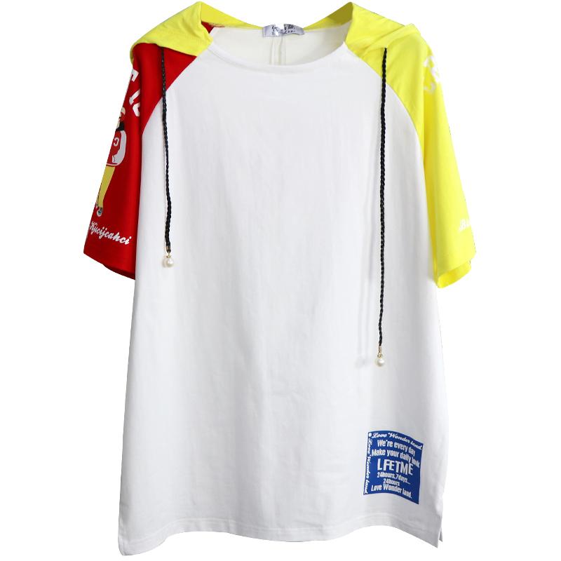 夏季新款ins帽衫 中长款bf风时尚女装卫衣薄款拼接纯棉短袖打底衫
