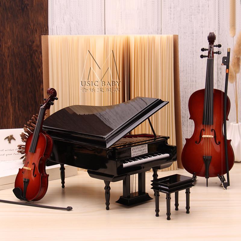 迷你鋼琴音樂盒小提琴模型吉他大提擺件女朋友生日禮物豎琴八音盒