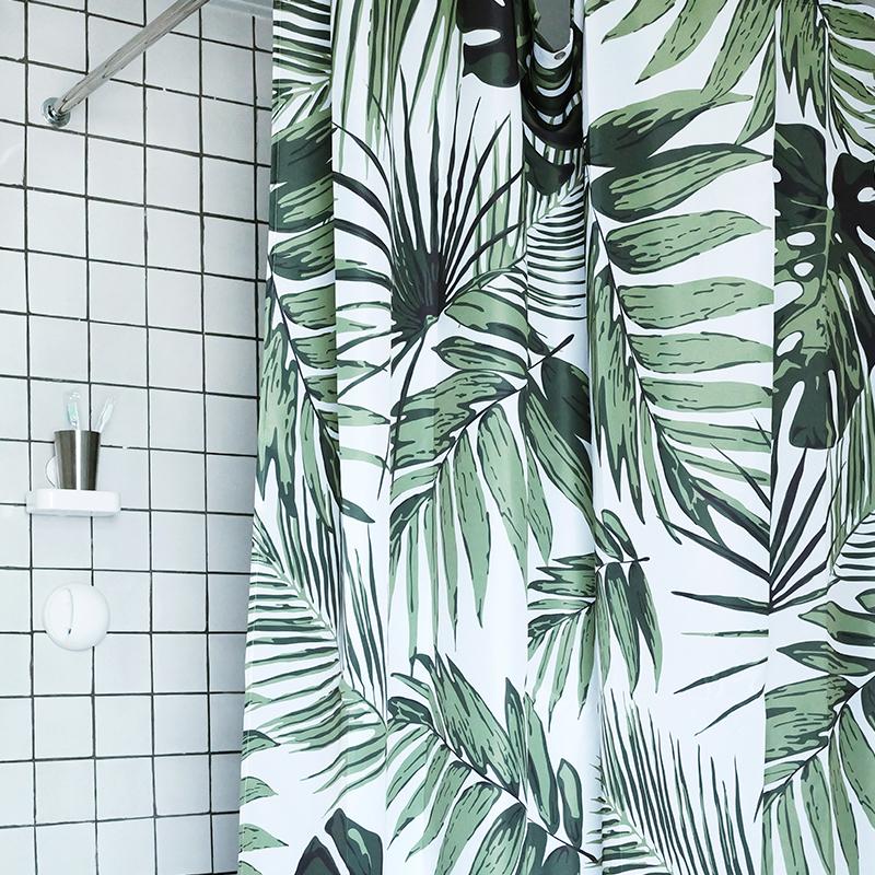 我家有個植物園北歐浴簾優質布料防水防黴原創品牌設計清新細葉款