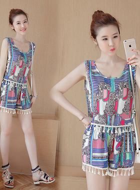 2021新款韩版洋气显瘦裤子夏季女装小个子减龄很仙的时尚两件套装