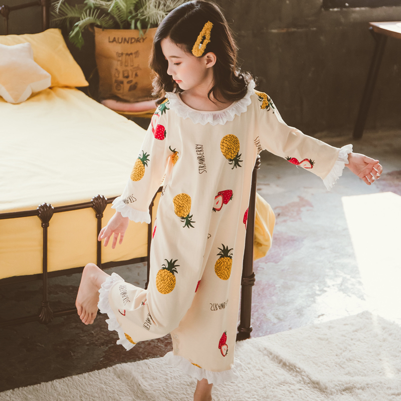中大童连体睡衣夏季薄款如厕纯棉春秋防踢哈衣睡袋女童连身空调服