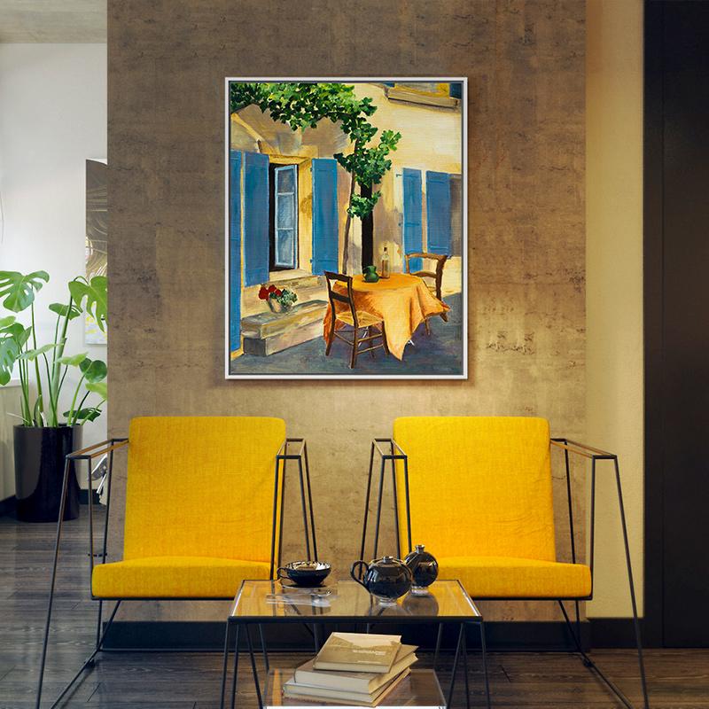 客厅油画餐厅风景画伊莉斯帕米贾尼-蓝色百叶窗