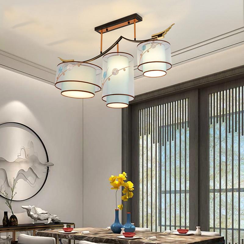 新中式客厅灯吸顶灯卧室铁艺布艺餐厅灯饰大气家用中国风全屋套餐