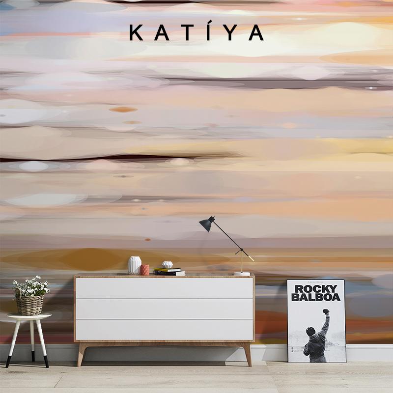 北歐手繪抽象個姓藝術油畫客廳電視背景墻壁畫無縫定制墻布 Katiya