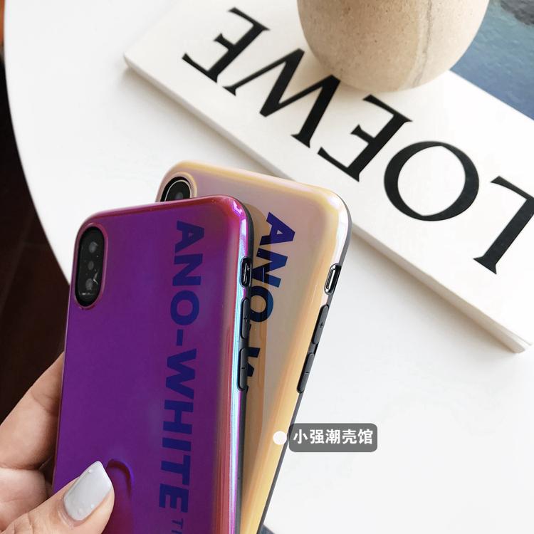 潮牌英文蓝光软壳X苹果6手机壳iPhone7plus/8/6s简约个性潮情侣款