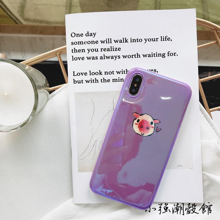 卡通紫色手绘小猪苹果X手机壳iphone7plus/8/6S蓝光软壳可爱卡通