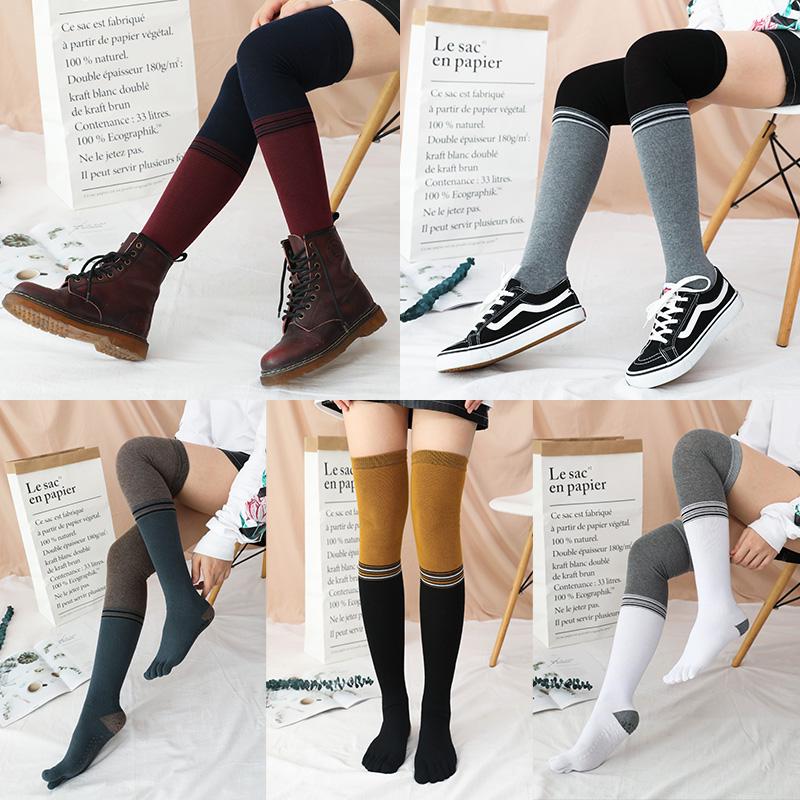 过膝长筒五指袜子纯棉女防滑专业地板瑜伽普拉提舞蹈美护