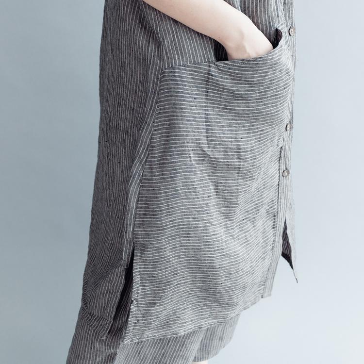 【清濯】灰色竖条纹横条兜中式小立领短袖长款棉衬衫