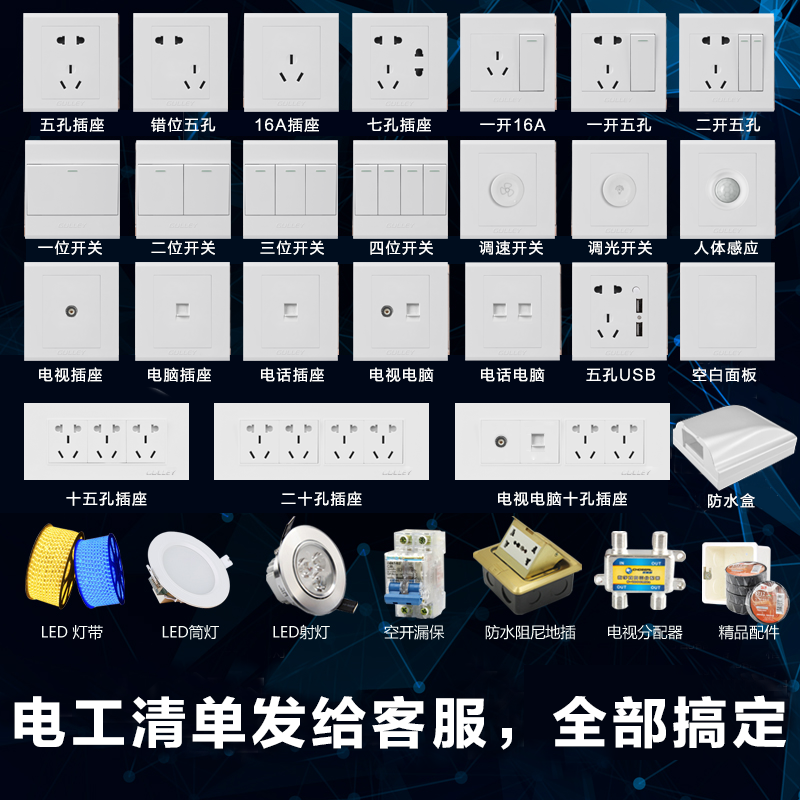 86型暗线墙壁网线网口插座面板家用光纤宽带电脑网络接口插口盒子