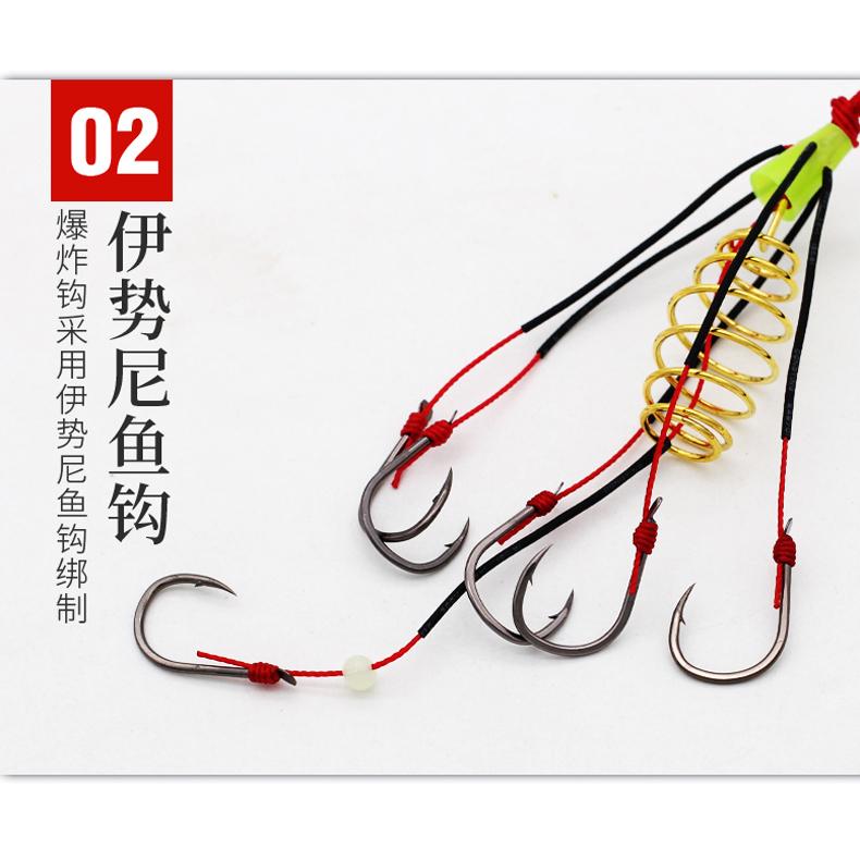 新款防缠绕爆炸钩套装钓组炸弹钩弹簧钩伊势尼鱼钩抛竿海竿渔具