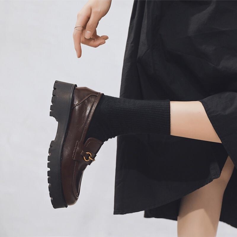 厚底乐福鞋女单鞋小皮鞋JK鞋2021秋季新款英伦复古金属扣学生软底