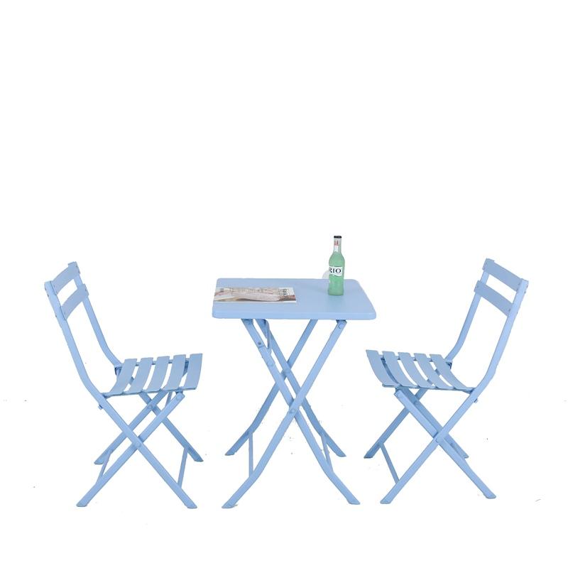 阳台小桌椅休闲可折叠户外铁艺庭院室内一桌二椅小茶几三件套组合高清大图