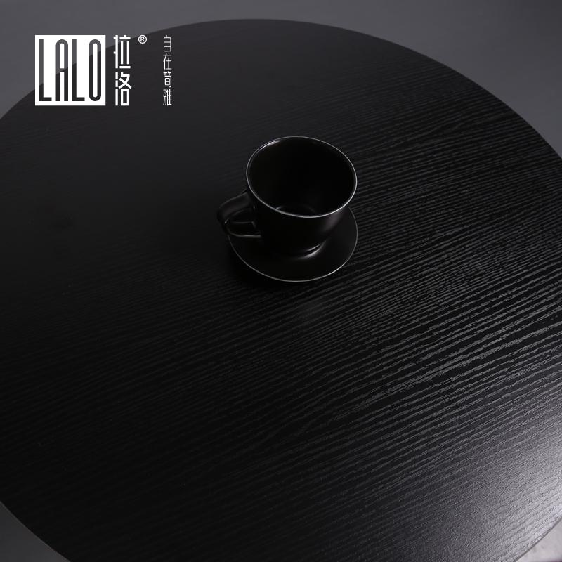 拉洛 黑色洽谈小圆桌 简约设计咖啡桌 双人位快餐圆桌 奶茶店桌子