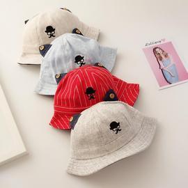 3-6个月春秋季婴儿帽子纯棉薄款0-1岁渔夫帽男童女宝宝防晒遮阳