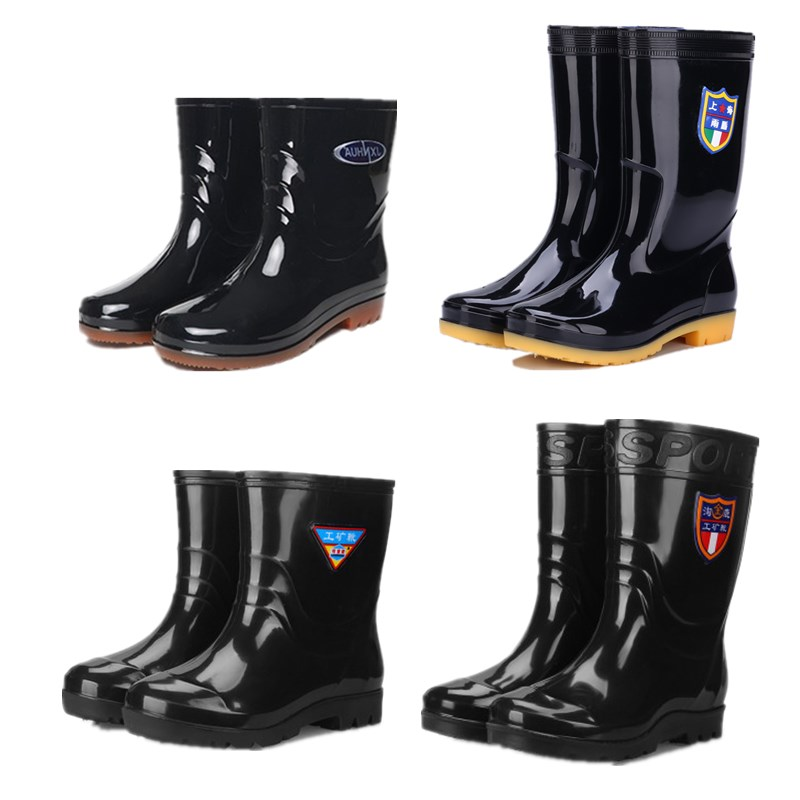 雨鞋男士短筒防滑防水鞋高筒中筒水靴低帮雨靴户外成人胶鞋棉套鞋