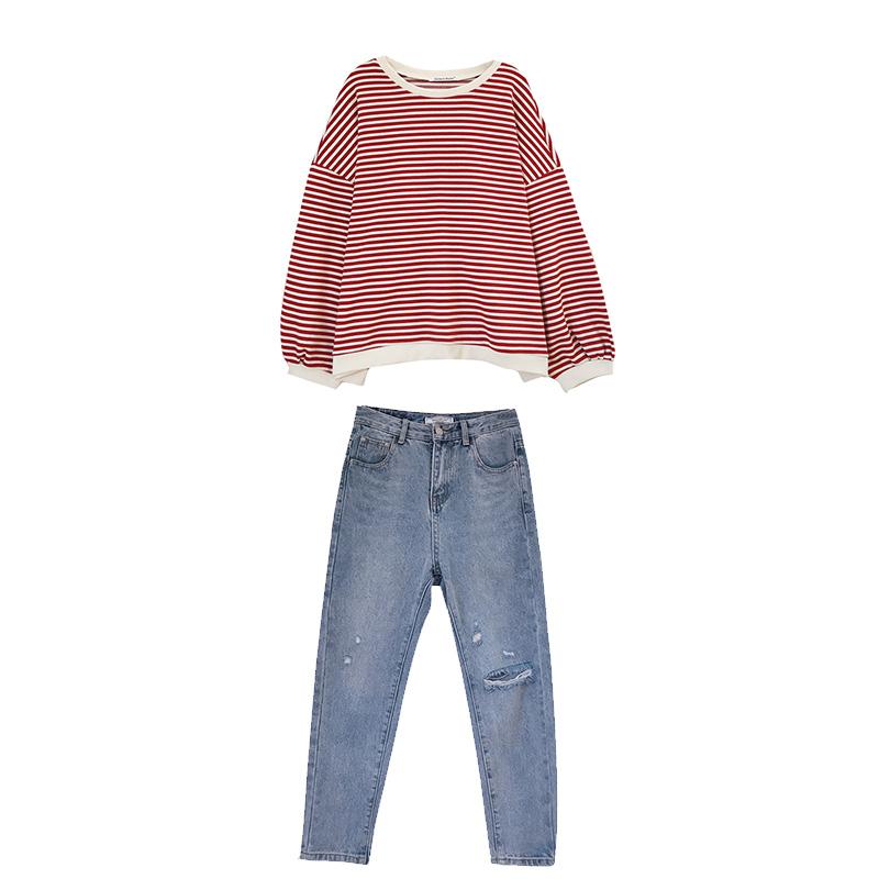 秋季新款2019女装慵懒风套装网红女神条纹时尚牛仔套装两件套洋气 thumbnail