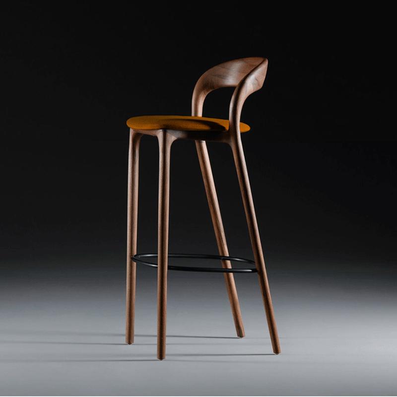 北歐實木吧臺椅家用靠背高腳凳現代簡約酒吧椅白蠟木真皮吧椅創意