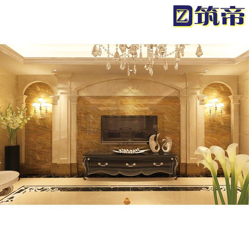大理石电视背景墙瓷砖微晶石现代简欧式罗马柱客厅石材影视墙装饰