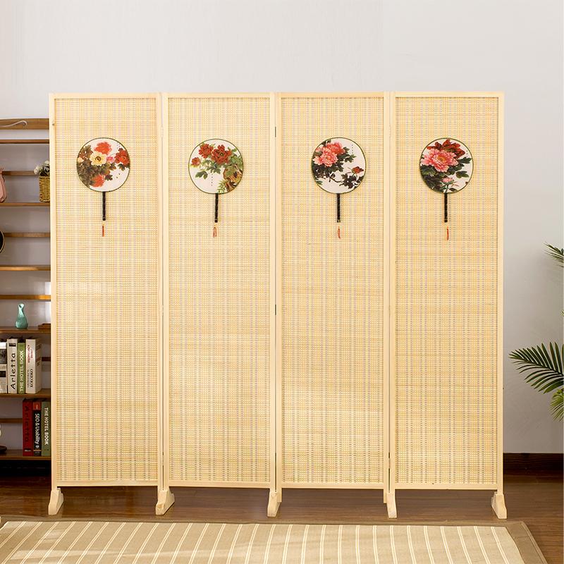 中式屏风竹编隔断折屏简约现代客厅玄关办公室实木制折叠移动屏风