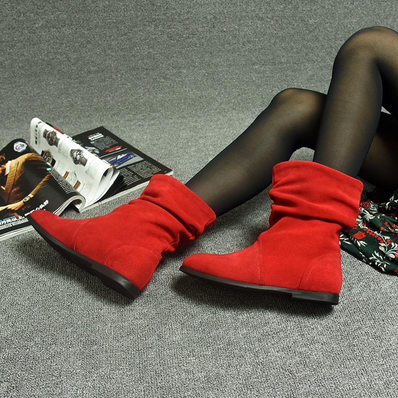 2019秋黑色真皮平底靴子欧美红色翻毛皮磨砂中筒靴反毛平跟女靴子