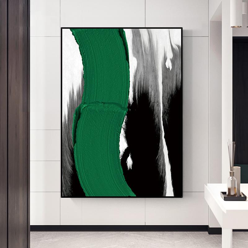 手绘油画 现代简约抽象立体艺术装饰画 浪影 玄关过道挂画 竖版