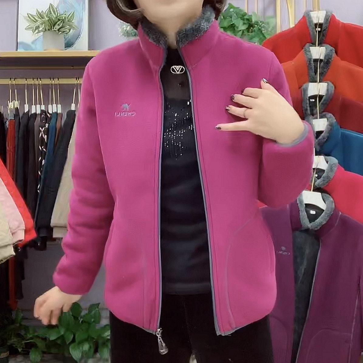 中年大码女装上衣中老年人外套春秋季妈妈装风衣加绒摇粒绒夹克衫