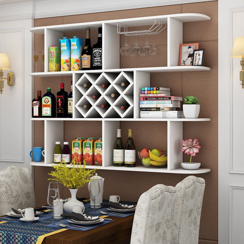 墙上酒架酒柜壁挂置物架壁柜背景墙客厅展示架创意装饰架现代红酒