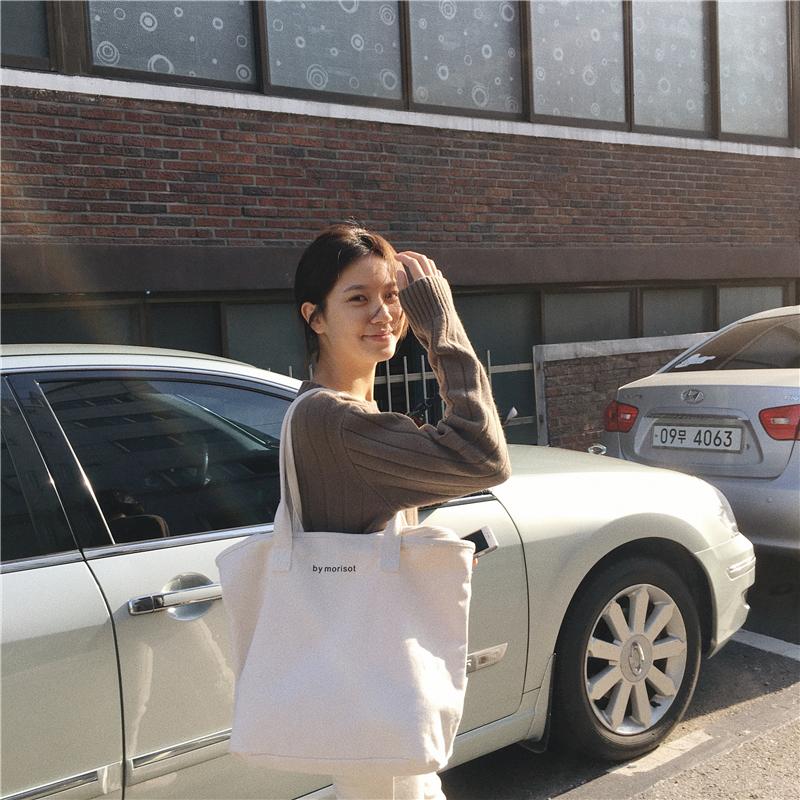 包包 新款白色大容量帆布包女文艺单肩韩国简约百搭手提购物袋  2019