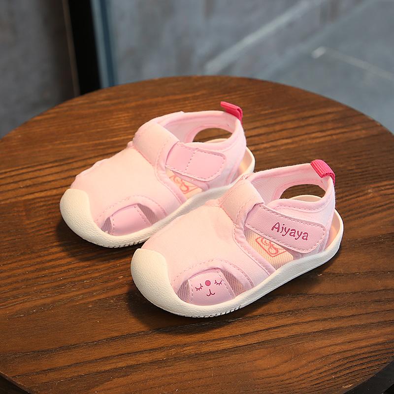 女宝宝凉鞋布鞋夏0-1-2岁3男软底学步鞋子婴儿凉鞋不掉鞋舒适彩棉