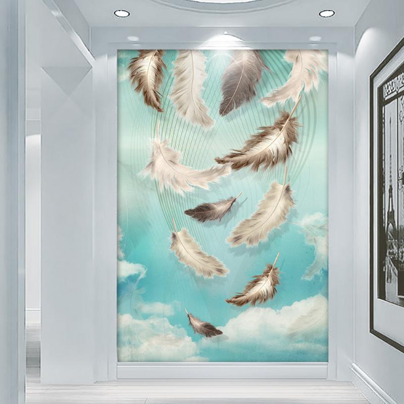 欧式玄关壁纸墙纸装饰画竖版走廊墙贴画网红房间温馨卧室自粘墙贴