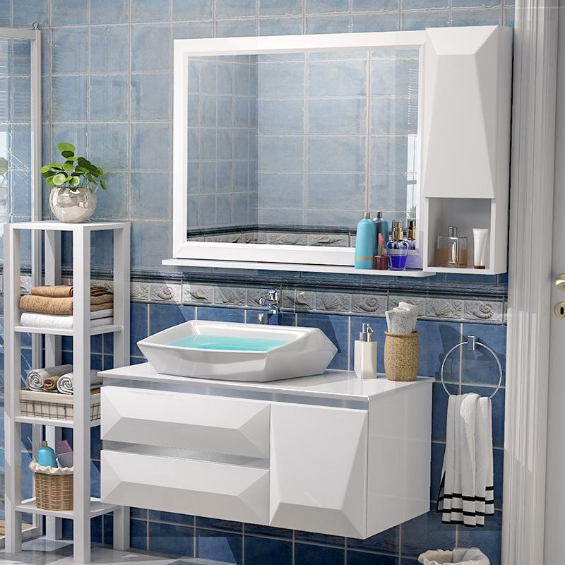 卫浴PVC浴室柜组合洗脸池洗手盆面盆洗漱台盆卫生间吊柜简约现代